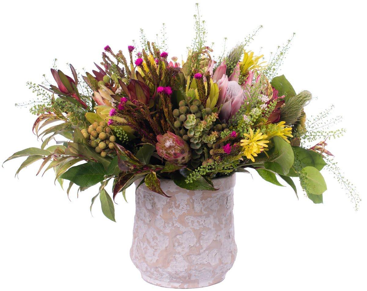 Ramo Nº 19: Protea, Safari, Thlaspi, Leucodendrum, Verdes - Margarita Se Llama Mi Amor - Floristería en Madrid