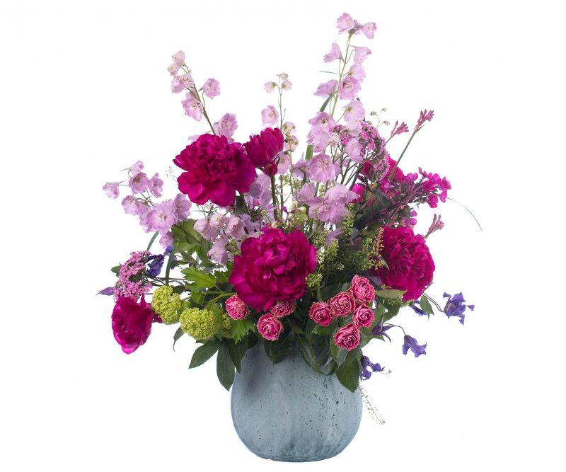 Bouquet Nº 09: Delphinium, Peony, Clematis, Rose, Phlox, Viburnum, Foliage