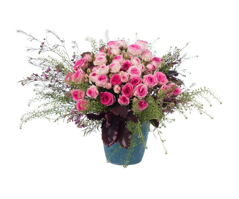 Bouquet Nº 12: Rose, Thlaspi, Waxflower, Foliage, Vase