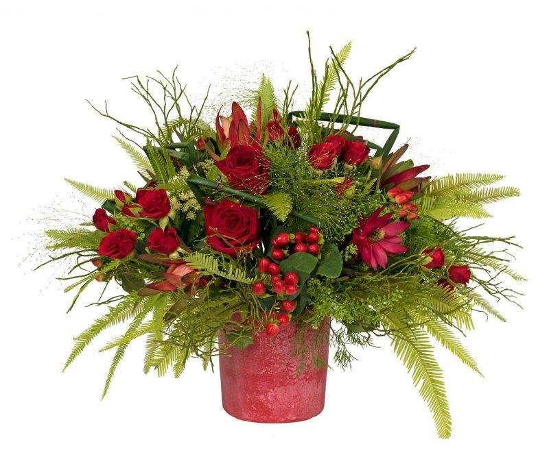 Ramo Nº 30: Hypericum, Leucadendron, Rosas, Thlaspi, Clavel, Cmmi majus, Panicum, Verdes, Maceta roja