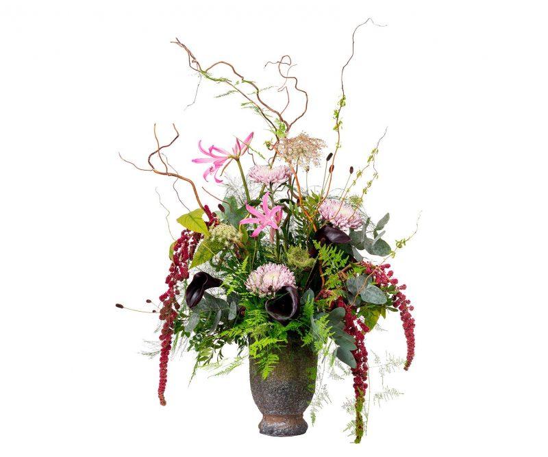 Ramo Flores Nº 23 Amaranthus, Nerine, Deco, Callas, Ammi majus, Ramajes, verdes varios. Jarrón incluido - Floristería en Madrid Margarita se llama mi amor