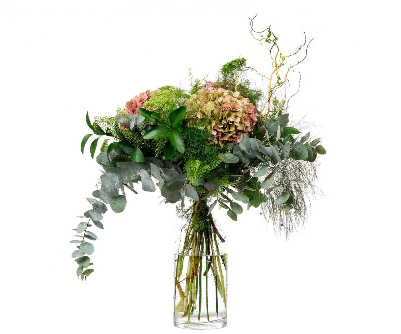 Bouquet Nº 10 Hortensias, Ammi majus, Tlhaspi, Ramajes, Verdes varios - Floristería en Madrid Margarita se llama mi amor